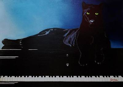 Black Panther And His Piano Print by Manuel Sanchez