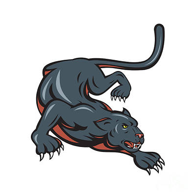 Panther Digital Art - Black Panther Crouching Cartoon by Aloysius Patrimonio