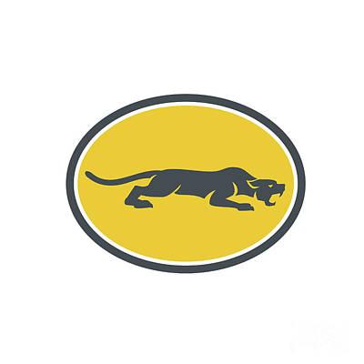 Panther Digital Art - Black Panther Prowling Oval Retro by Aloysius Patrimonio