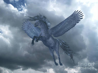 Black Pegasus In Blue Sky Print by Corey Ford