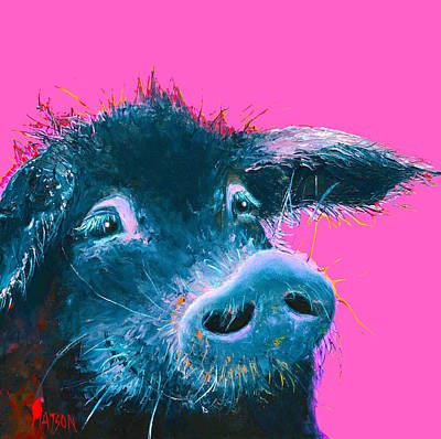 Black Pig Painting On Pink Background Print by Jan Matson