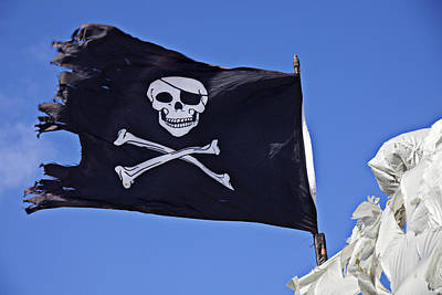 Black Pirate Flag  Print by Garry Gay