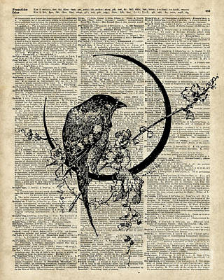 Bluebird Mixed Media - Black Raven Bird by Jacob Kuch