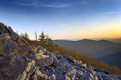Black Rocks Summit In Shenandoah National Park Virginia At Sunset Print by Brendan Reals