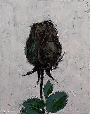 Impasto Oil Painting - Black Rosebud by Michael Creese