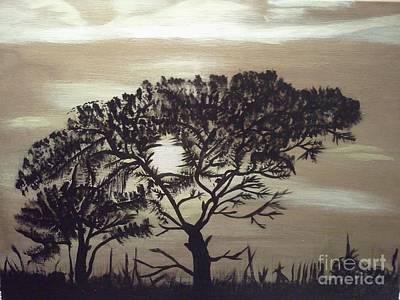 Black Silhouette Tree Original by Jimmy Clark