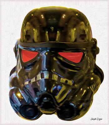 Attention Painting - Black Stormtrooper - Pa by Leonardo Digenio