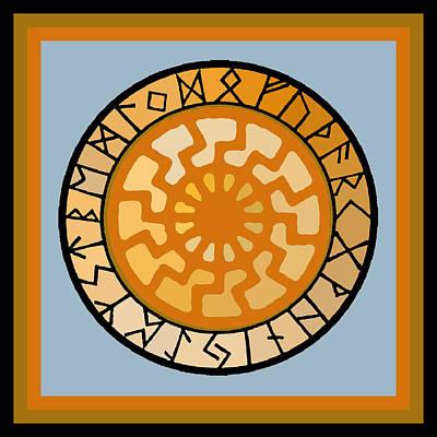 Esprit Mystique Digital Art - Black Sun Rune Calendar Mandala Blue by Witches Hammer - Virginia Vivier