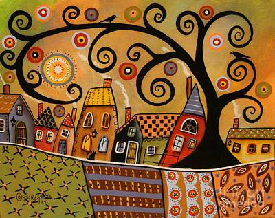 Black Swirl Tree Landscape 1 Original by Karla Gerard