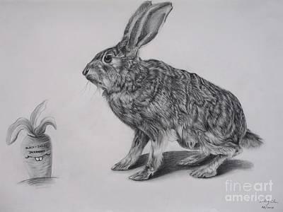 Carrot Drawing - Black-tailed Jackrabbit by Jianling Chu