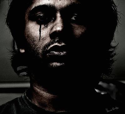 Self Portrait Photograph - Black Tears by Venura Herath