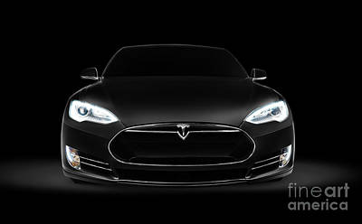 Car Photograph - Black Tesla Model S Luxury Electric Car Front View by Oleksiy Maksymenko
