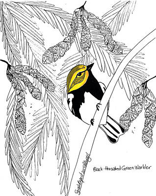Warbler Mixed Media - Black-throated Green Warbler by Sarah Rupert