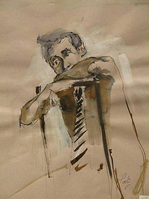 Sepia Ink Drawing - Black Tie Only by Podi Lawrence