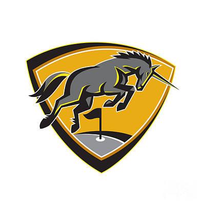 Unicorn Digital Art - Black Unicorn Horse Charging Golf Course Retro by Aloysius Patrimonio