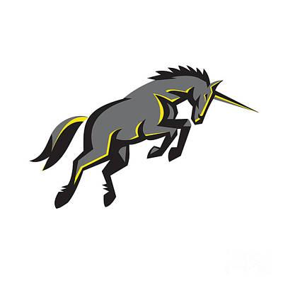 Black Unicorn Horse Charging Isolated Retro Print by Aloysius Patrimonio