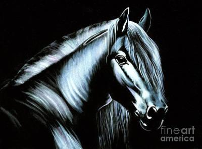Textured Horse Art Drawing - Black Velvet Horse by Kristian Leov
