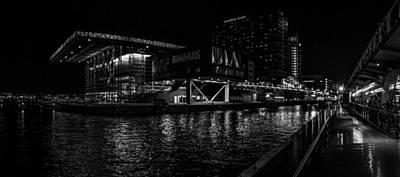 Black White Night Panoramic View On Bimhuis Jazz Hall In Amsterdam Original by Yevhenii Volchenkov