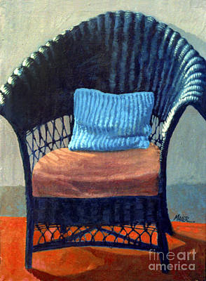 Wicker Chair Painting - Black Wicker Chair by Donald Maier