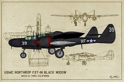 Digital Art - Black Widow Marine - Profile Art by Tommy Anderson