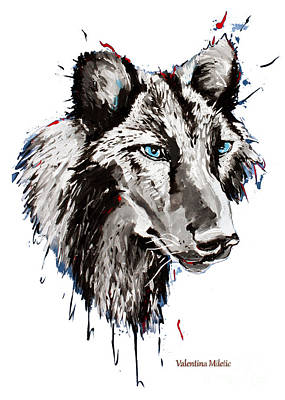 Wolves Painting - Black Wolf 2- Animal Art By Valentina Miletic by Valentina Miletic