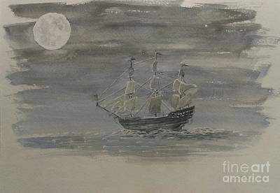 Pirate Ship Painting - Blackbeard's Ship by Stacy C Bottoms
