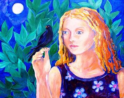 Blackbird Singing In The Dead Of Night  Print by Trudi Doyle