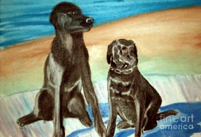 Labs Painting - Blacklabs by Stanley Morganstein