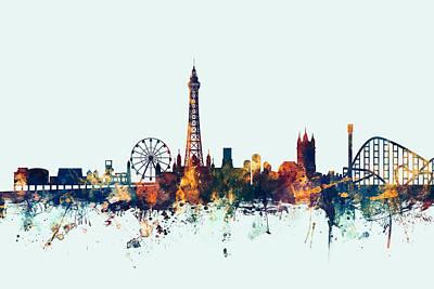 Great Digital Art - Blackpool England Skyline by Michael Tompsett