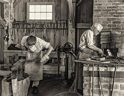 Rural Photograph - Blacksmith And Apprentice 3 - Sepia by Steve Harrington