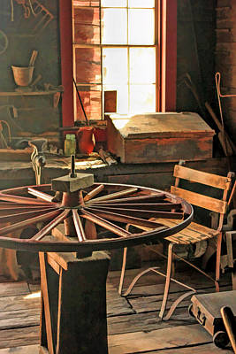 Old Barn Painting - Blacksmith Shop Wheel Repair At Old World Wisconsin by Christopher Arndt