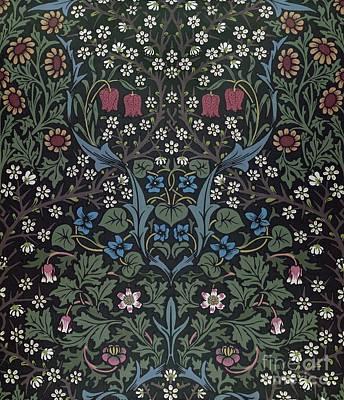 Sunflowers Drawing - Blackthorn Wallpaper Design by William Morris