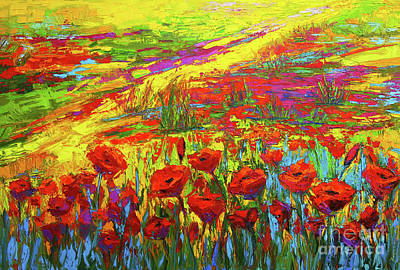 Garden Scene Painting - Blanket Of Joy Modern Impressionistic Oil Painting Of Poppy Flower Field by Patricia Awapara