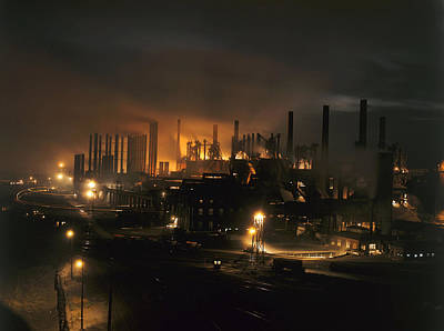 Illuminated Photograph - Blast Furnaces Of A Steel Mill Light by J Baylor Roberts