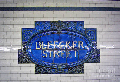 Stop Sign Photograph - Bleecker Street Subway Sign by Nishanth Gopinathan