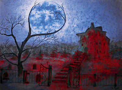 Haunted House Painting - Bleeding House by Ken Figurski