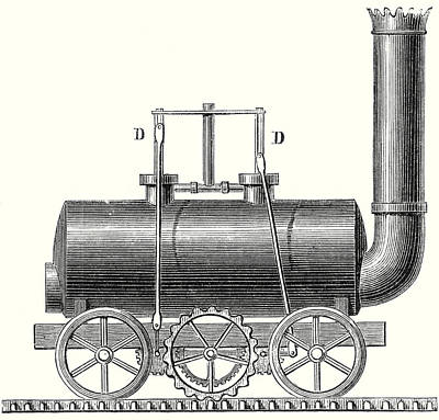 Blenkinsop's Toothed Rack Locomotive Print by English School