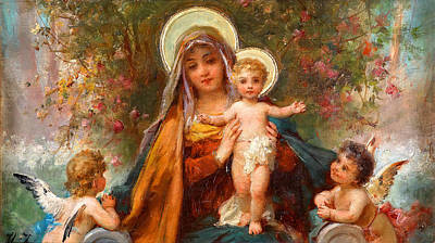 Blessed Mary With Infant Jesus And Angels Cherubs Print by Magdalena Walulik