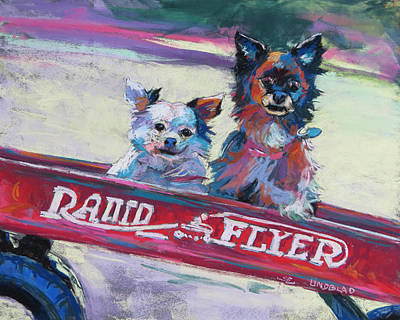 Radio Flyer Wagon Painting - Blessing And Indy by Sandy Lindblad