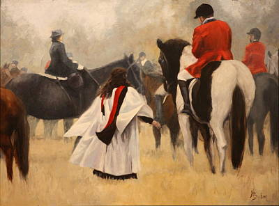 Heather Burton Painting - Blessing Of The Hounds by Heather Burton