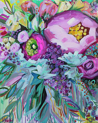 Modern Floral Painting - Blessings Come From Raindrops by Kristin Whitney