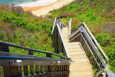 Staircase Painting - Block Island Beach - Rhode Island by Lourry Legarde