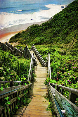 Staircase Photograph - Block Island by Lourry Legarde
