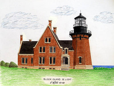 Block Island Se Lighthouse Original by Frederic Kohli