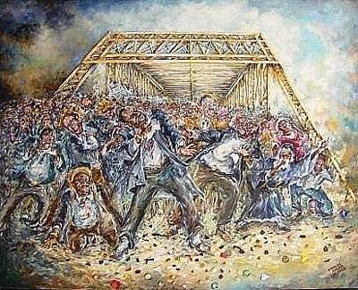 Painting - Block The Bridge by Charles Simms