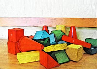 Toy Painting - Blocks In His Room by Carla G Art Nitkey
