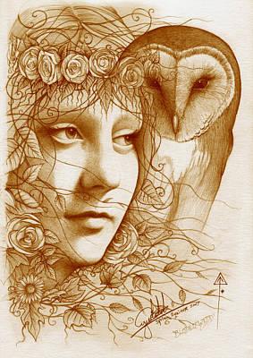 Wiccan Drawing - Blodeuwedd by Yuri Leitch