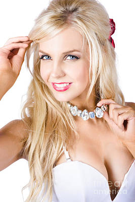 Long Necklace Photograph - Blond Woman With Necklace by Jorgo Photography - Wall Art Gallery