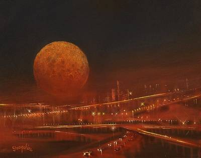 Blood Moon Over The City Original by Tom Shropshire