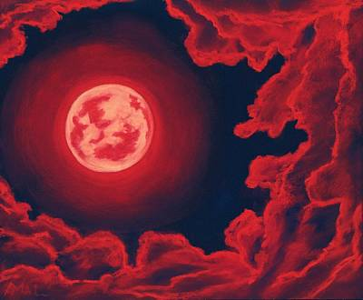 Midnight Painting - Blood Moon - Sky And Clouds Collection by Anastasiya Malakhova